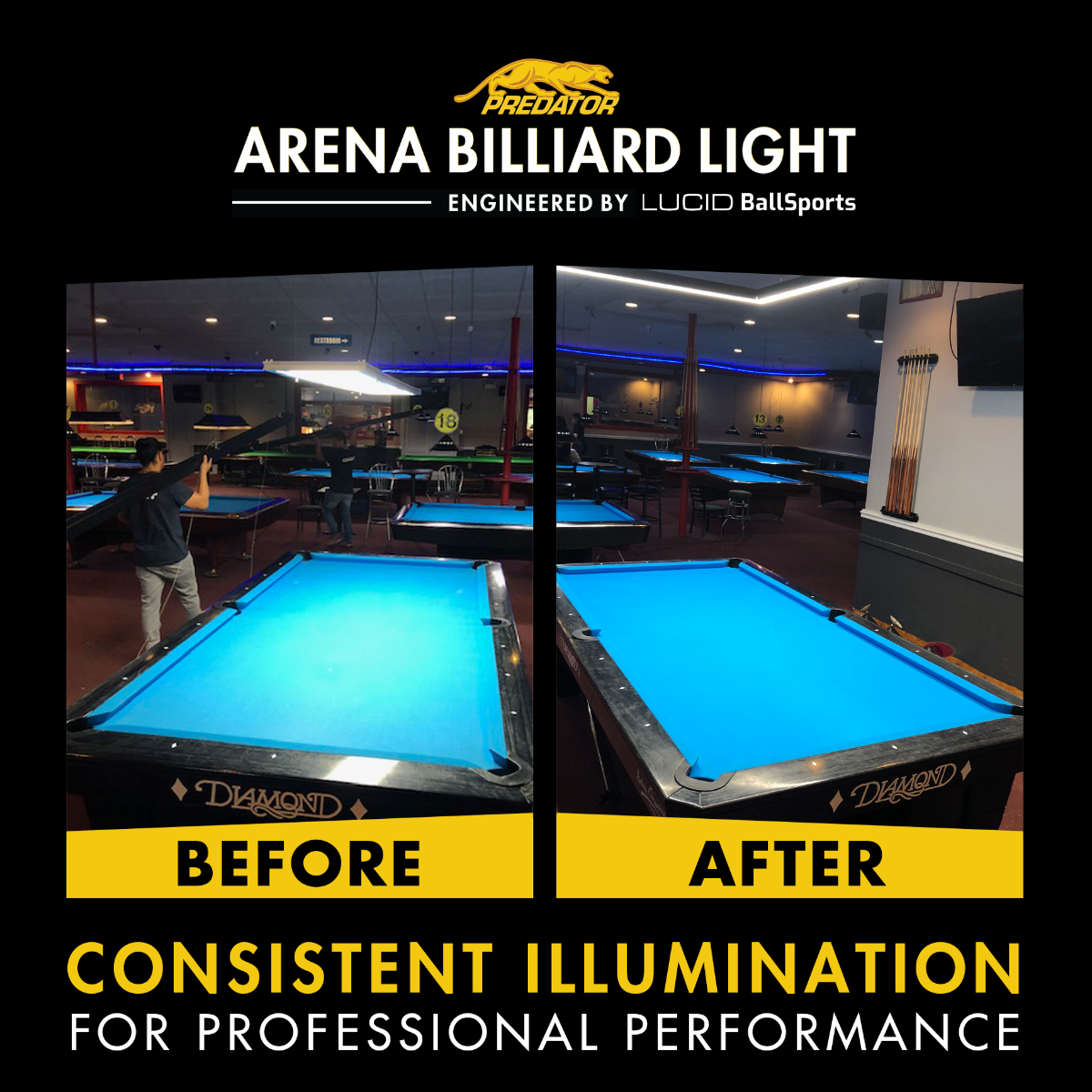 Predator Arena Billiard Lights Before & After