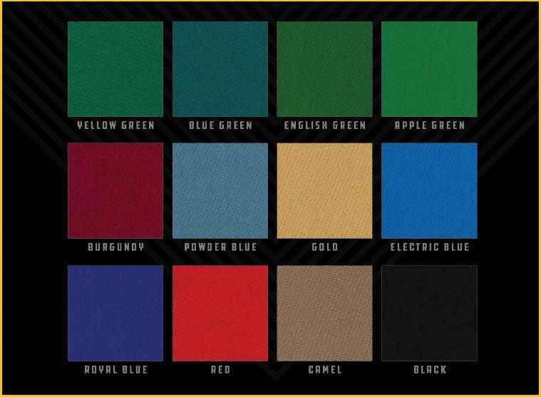 Predator Arcadia Pool Table Felt Colors
